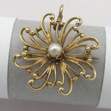 Antique Victorian Edwardian 10k Gold Radiating SUN Pearl Brooch Pin Pendant
