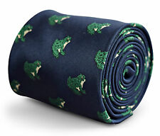 Frederick Thomas navy tie with green frog design FT3260