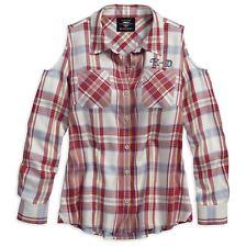 Harley-Davidson Women's Americana Eagle Plaid Shirt,Cold Shoulder, Long Sleeve