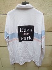 Polo EDEN PARK Team blanc rugby shirt broderie manches longues M