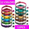 12 PCS Lot of Wholesale Dog Collar Adjustable Buckle Collar W/ Bell Small Puppy
