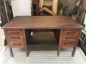 Old Oak Double Pedestal Office Desk