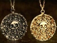 Charm Aztec Coin Medallion Skull Pendant Film Pirates of The Caribbean Necklace
