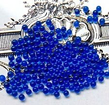2mm Ballotini Balls,Vintage Sapphire Beads,Solid Glass Balls Eyes Solid #1709