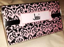 Vinyl Checkbook Cover Damask Pink Customized Name Suzie's Designs