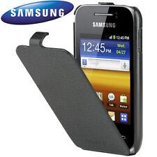 Custodia Flip Case ORIGINALE pelle nera per Samsung S5360 Galaxy Y cover