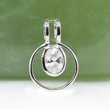 Wholesale Price, 925 Sterling Silver Circle Pendant with Oval Cubic Zirconia