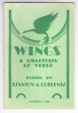 WINGS A QUARTERLY OF VERSE Summer 1958 - poem by Thomas Burnett Swann.