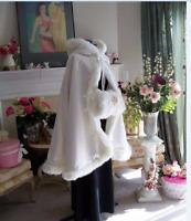Weiß/Elfenbein/Satin Warm Winter Faux Pelz Hochzeit Kurze Braut Mantel Umhang***
