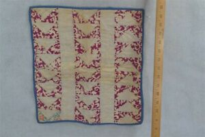 old early miniature doll quilt white maroon 15 x 16 in. cotton original