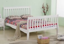4ft6 Double Bed Frame Solid Pine Wood White Finish Slatted Bedroom Furniture