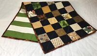 Patchwork Country Quilt Table Runner, Nine Patch, Calico Prints, Roosters, Multi
