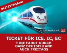 Deutsche Bahn mytrain Bahn Ticket Gutschein ICE IC EC Fahrkarte MO-SO Eine Fahrt