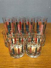 9 Vintage McBeth MCM Christmas Candles Highball Drinking Glasses
