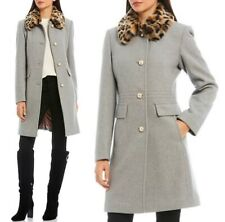 Kate Spade Faux Fur-Trimmed Collar Pearl Buttons Coat in Grey  sz S  $398  ~NWT~