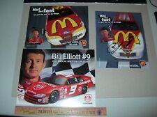 Autograph NASCAR Bill Elliott postcards presscard photos McDonalds Dodge racing