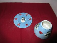 Ceramic  Light Blue Plate Base W/ Dome Top Candle Holder