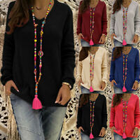 Womens Ladies Long Sleeve Sweatshirt Pullover Tops Jumper Sweater Shirt Blouse