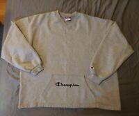 Champion Pullover V Neck Sweatshirt Front Pocket Spellout Logo Men's Size 2XL
