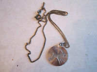 "VTG STERLING SILVER NECKLACE WITH PENDANT - ZODIAC? - 16"" LONG - NICE"