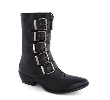 DOLCE VITA Size 6 Black Wedge 5 Buckle Boots