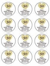 """12 x Golden Wedding Personalised  2"""" PRE-CUT PREMIUM RICE PAPER Cupcake Toppers"""