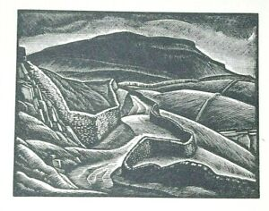 PEN-Y-GHENT, PENYGHENT,  YORKSHIRE DALES : 1952 Print of a Woodcut by GREENWOOD