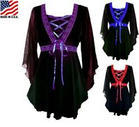 RED BLUE PURPLE PLUS SIZE LONG SLEEVE GOTHIC STYLE CORSET BLOUSE 1X