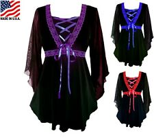 RED BLUE PURPLE PLUS SIZE LONG SLEEVE GOTHIC STYLE CORSET BLOUSE 1X 2X 3X 4X 5X