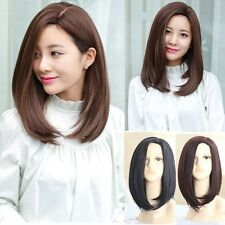 Black Brown Bob Hairstyle Wig Lady Womens Long Straight Side Bangs Full Wig Hair