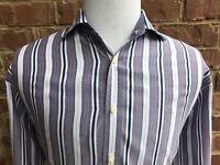 THOMAS DEAN Men's Long Sleeve Flip Cuff Button Front Shirt 100% Cotton Sz. Large