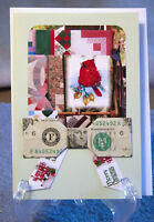 Origami Folded Dollar Bow on Hand Crafted Christmas Card with Quilt Graphic