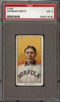 1909-11 T206 Charles Seitz Piedmont 350 Southern League Norfolk PSA 3 VG