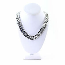 Mens Silver Miami Cuban Chain Curb Link 18.5mm Thick Heavy Solid JayZ Tight
