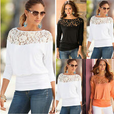 Fashion UK Women Casual Loose Long Sleeve Ladies Lace Baggy T-Shirt Tops Blouse