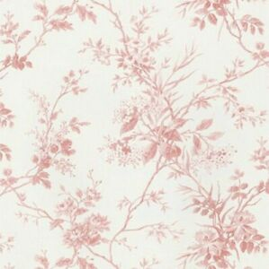 Floral Toile Wallpaper SM21557 Easy-Walls dusty red leaf vine washable prepasted