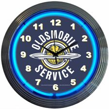 "Oldsmobile Service Logo Blue Neon Hanging Black Wall Clock 15"" Diameter 8OLDSM"
