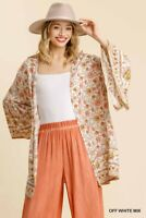 Umgee Floral Border Bell Sleeve Spring Kimono Size S/M M/L