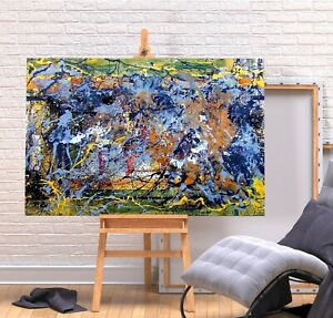 JACKSON POLLOCK 1 - BLUE YELLOW COLOURFUL FRAMED CANVAS WALL ART PICTURE PRINT
