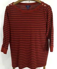 Chaps Womens Size 2X Red Navy Stripe 3/4 Sleeve Pull On Top