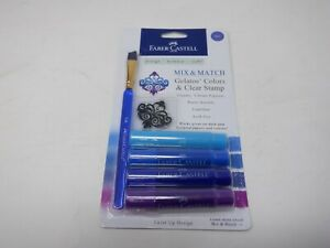 Faber-Castell Mix & Match Gelatos Colors & Clear Stamp Blue Craft NEW  HC5425