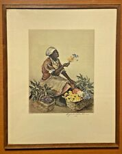 Flower Seller Elizabeth O'Neill Verner Signed Lithograph Print Circa 1930s 11X13