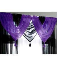 Rideaux et cantonnières violet en voile pour la cuisine