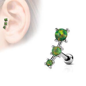 "16 GA1/4"" Opalite Flower Synthetic Opal Center Tragus Ear Cartilage Barbell A187"