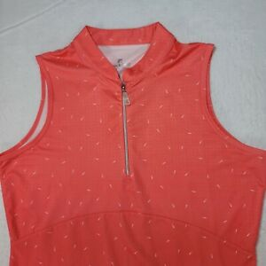 BETTE & COURT Shirt 1/4 Zip Sleeveless Collar Orange Golf Tennis Size M