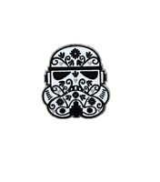 """Stormtrooper CALAVERA IRON ON PATCH 3"""" Embroidered Star Wars Flowers Sugar Skull"""