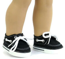 """Black Canvas Boat Shoes Boy made for 18"""" American Girl Doll Clothes"""