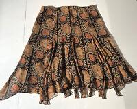 Ralph Lauren Ladies 100% Silk Skirt 10P  Asymmetrical Hem Black Tan Rust