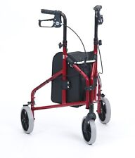 Lightweight Aluminium Height Adjustable Tri Three Wheel Walker TW008R Red