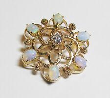 14kt Yellow Gold Diamond and Opal Pin